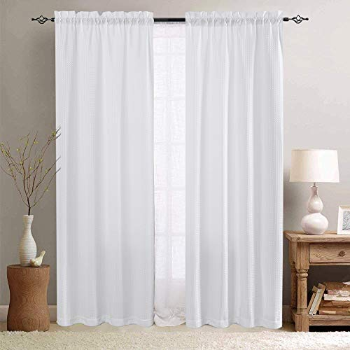 White Bathroom Window Curtains Waffle Weave Textured Cafe Curtains Small Window Treatment Sets for Kitchen 72 Inches Long 2 Panels