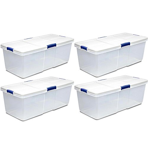 Hefty 100-Quart Latch Box, Large Capacity, White Lid and 4 Blue Handles, 4-Pack