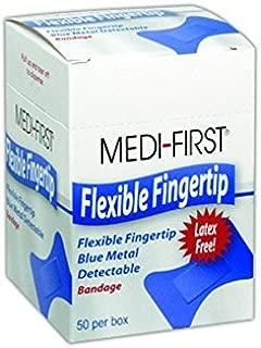 Medique MP66050 Medi-First Blue Metal Detectable Fingertip Bandages, 1.5