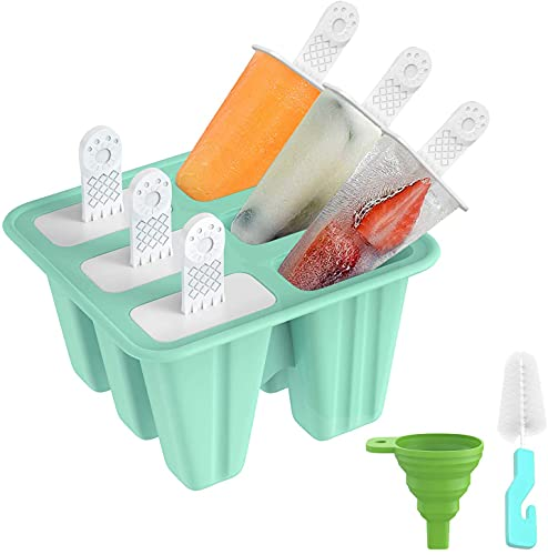 Popsicle Molds Sets 6 Ice Pop Makers Reusable Easy Release Ice Cream Mold, Dishwasher Safe DIY Silicone 6 Cavities Ice Pop Molds with Silicone Funnel and Cleaning Brush, Green
