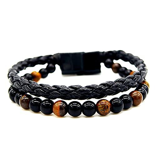 Lamazen - Pulsera 2 en 1 para hombre de piel negra y piedras naturales con ojo de tigre, ónix con cierre de perlas de 6 mm