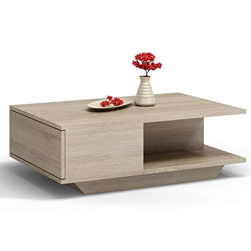 Daria - Mesa de café (90 x 60 cm, con estante, roble Sonoma)