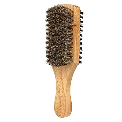 MoreBeauty Double-sided Facial Hair Brush Shaving Comb Male Mustache Brush Solid Wood Handle Optional Size