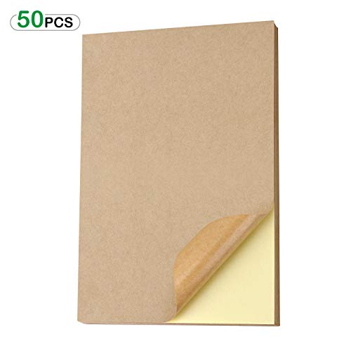 50 Bögen A4 Kraft Braune Aufkleber Etiketten Papier, A4 selbstklebendes Kraftpapier, für Adressetiketten und Bedrucken, Geeignet für Laser, Tintenstrahldruck, Kopiererdruck