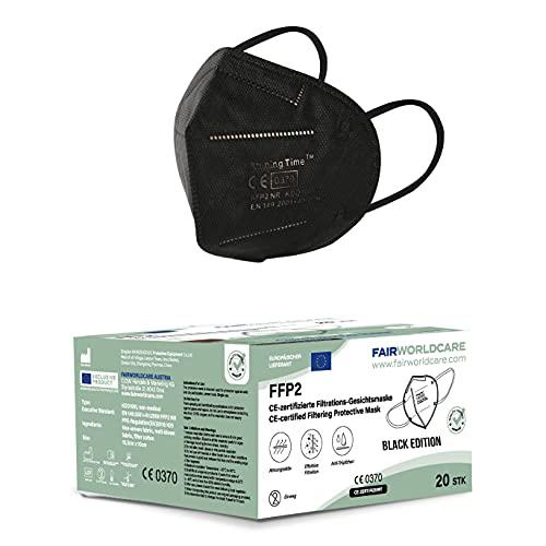 FairWorldCare 20x FFP2-Masken schwarz mit Schaumstoff unter dem Nasenbügel Black Edition / in der EU CE geprüft / CE 0370 / DIN EN 149 FFP2 Atemschutzmasken