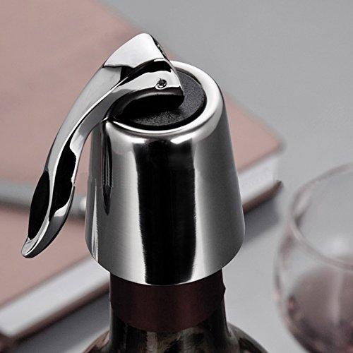 DingCheng Tapón de botella de vino tinto sellado al vacío reutilizable de acero inoxidable, tapones de vino para botellas de vino abierto