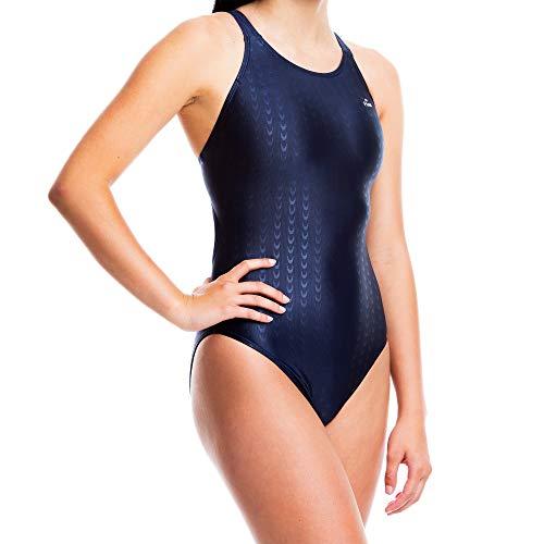 Flow Accelerate Traje de baño para niñas – Talla 23 a 32 Traje de baño de una pieza para práctica y competición en negro, azul y azul marino, Azul marino/flor y brillo, 34
