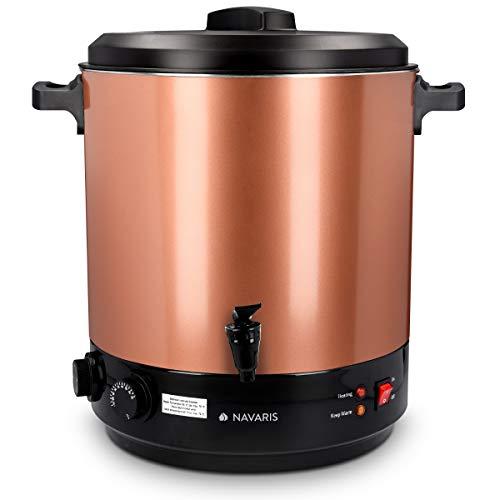 Navaris 2in1 Einkochautomat mit Glühweinkocher Funktion - 27 Liter Timer bis 120min Thermostat Zapfhahn - Einkochtopf auch für Heißgetränke Bronze
