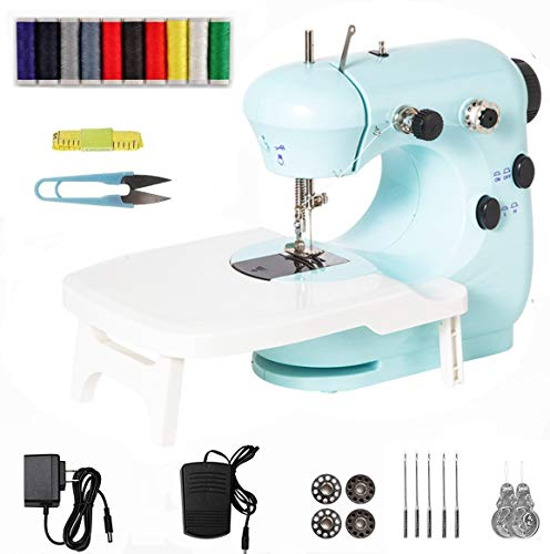 Sewing Machine with Extension Table,Electric Portable Mini Handheld Sewing Machine 2 Speeds Double Thread with Foot Pedal,Small Repairing Tailor Machine for Home Arts Crafting & DIY Project
