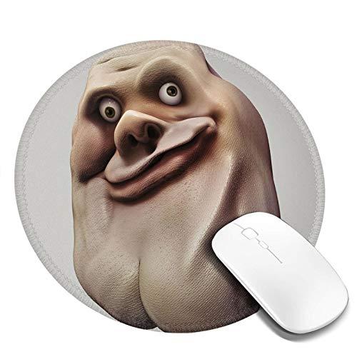20,1 x 20,1 cm rundes Gaming-Mauspad, ungewöhnliches Meme-Gesicht mit ungewöhnlicher Gesichtsgeste, Ugly Mock Smug Forum Art Design, mit rutschfester Gummiunterseite.