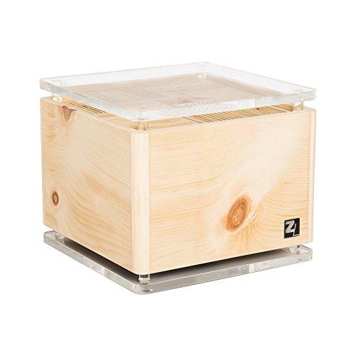 ZirbenLüfter ® Cube Rondo cristall für ca. 40 m2 | Luftbefeuchter | Luftreiniger aus Zirbenholz | abgerundete Ecken | die Boden-/Abdeckplatte ist glasklart mit eingravierter Blume des Lebens |