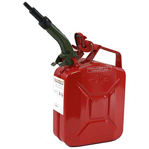 Stahlblechkanister rot 5 Liter + Auslaufrohr starr Benzinkanister Kanister Set