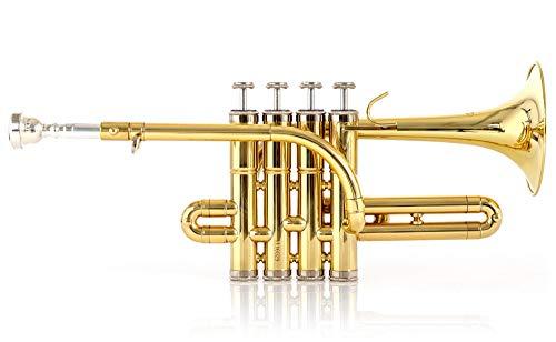 Classic Cantabile Brass PT-196 Bb-Piccolotrompete - Lange Bauform - Bohrung: 11,7 mm - Schallbecher: 100 mm - Messing, lackiert - Inkl. Mundstück und Koffer