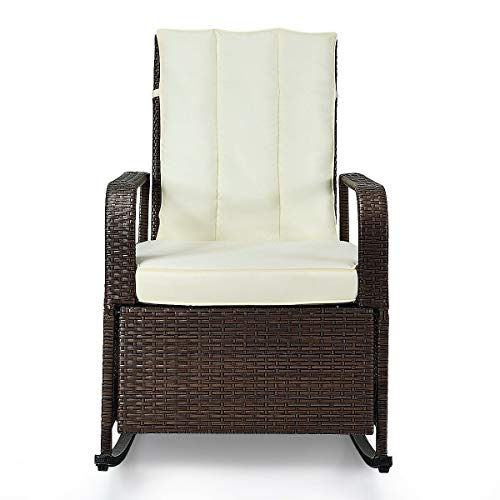 King 77777 Patio Wicker Porch Garden Lawn Reclining Rocking Chair Comfortable Modern Stylish Classic Design Solid