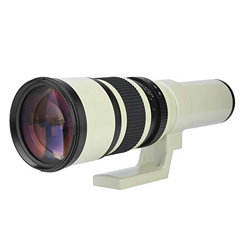 Oumij Teleobiettivo 500 mm F6.3 Teleobiettivo a Fuoco Fisso Obiettivo Professionale per Fotocamere Reflex Digitali, Bianco(Adattatore T2-AI per Nikon)