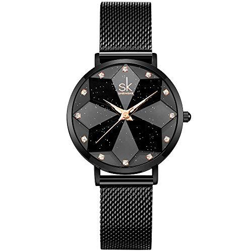 SHENGKE Estrella Reloj de Pulsera para Mujer, Correa de Malla, Elegante, para Mujer, Estilo Simplicidad,Flores (Starry-Mesh Band-Black)
