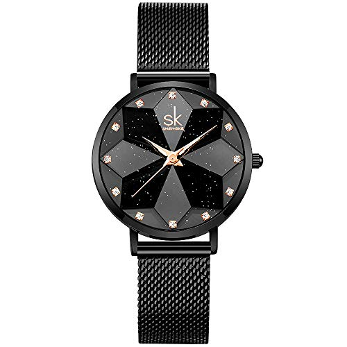 Creative Design Starry Star Women Watch with Genuine Leather Stainless Steel Mesh Band (Starry-MESH Band-Black)