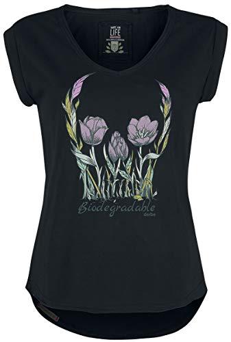 Preisvergleich Produktbild derbe Hamburg Flower Skull Frauen T-Shirt schwarz XL