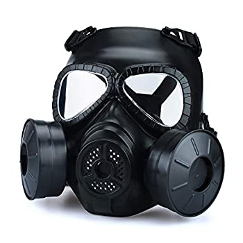 ActionUnion Airsoft Mask Tactical Full Face Mask Military Outdoor Sport CS Protective Paintball Eye Protection Gas Mask Adjustable Dual Filter Fans Skull Zombie Soldiers Cosplay Costume Movie Shooting