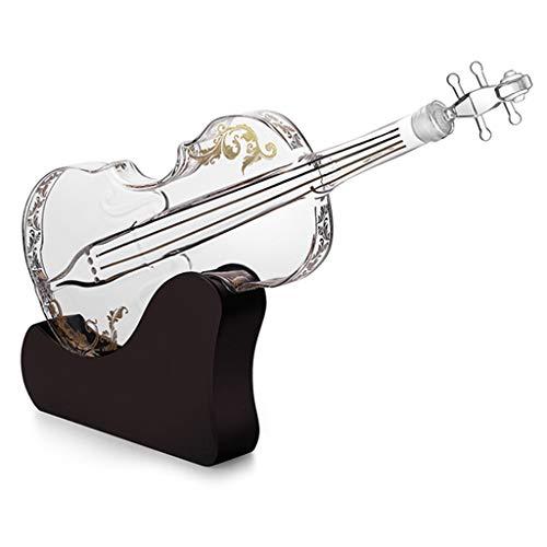 YWSZJ Dispenser di Whisky Decanter Decanter 3D Shape di Violino Dispenser per liquori Scotch Bourbon Decanter Vodka con Supporto in Vetro finito 1000ml