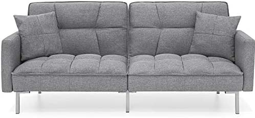 Best Choice Products Convertible Linen Fabric Tufted Split Back Plush Futon Sofa Furniture for product image