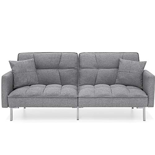Best Choice Products Convertible Linen Fabric Tufted Split-Back Plush Futon Sofa Furniture for Living Room, Apartment, Bonus Room, Overnight Guests w/ 2 Pillows, Wood Frame, Metal Legs - Dark Gray
