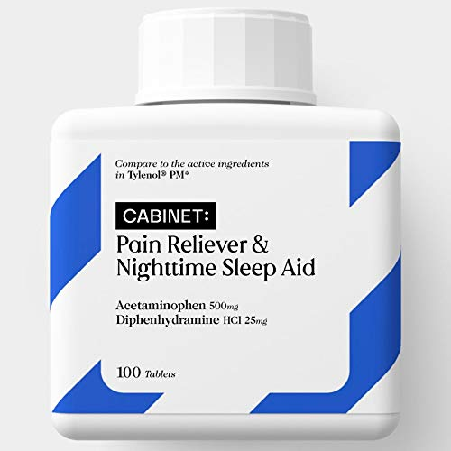 Cabinet PM Pain Reliever and Nighttime Sleep Aid | Acetaminophen 500mg, Diphenhydramine HCl 25 mg | Fast-Acting Relief for Headaches, Minor Aches | Non-Habit Forming