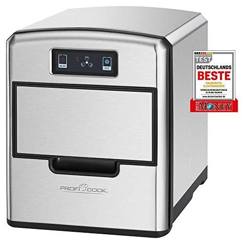 ProfiCook PC-EWB 1187 Eiswürfelbereiter,Sensor Touch-Bedienfeld, Eiswürfel nach wenigen Minuten verfügbar, 3 Eiswürfelgrößen wählbar, hochwertiges Edelstahlgehäuse