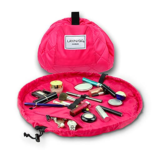 Lay-n-Go Cosmo Drawstring Makeup Organizer Cosmetic & Toiletry Bag for Travel, and Daily Use with a Durable Patented Design, 20 inch, Pink