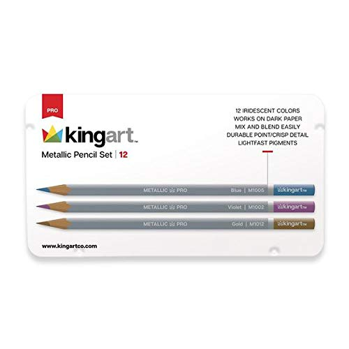 KingArt PRO Watercolor Set Pencils, Set of 12, Metallic Assorted Colors 12 Piece