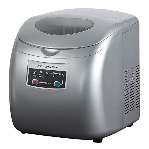 WOLTU EM03sb Eiswürfelmaschine Eismaschine Ice Maker Eiswürfelbereiter, 12kg 24h, 3 Eiswürfel-Größen, 2,8 Liter Wassertank, 120 W, ABS, silber