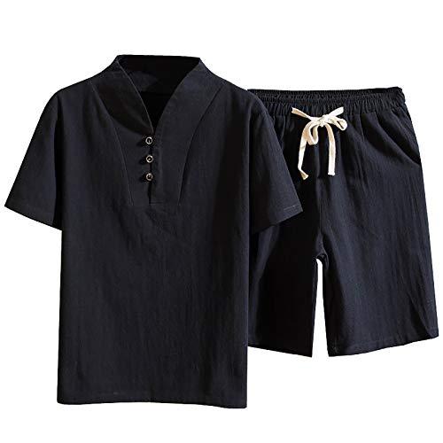 nopinpai Herren Leinenhemd-Shorts-Set Zweiteiliger Leinen Hemd Freizeithemd Sommerhemd mit Kurz Hosen Basic Shirt Loose Fit Männer Freizeit Hausanzug Sommer T-Shirt Bequem Kurzarm Tshirt