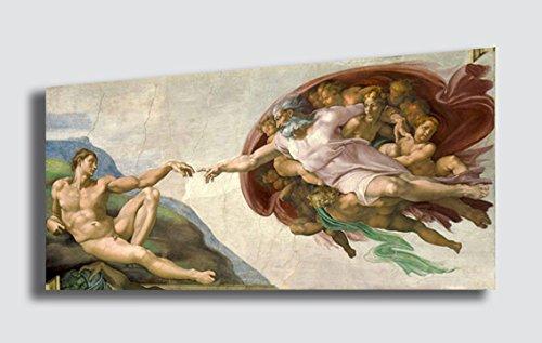 Quadro MICHELANGELO BUONARROTI La creazione di Adamo ed Eva - RIPRODUZIONE STAMPA SU TELA Quadri Moderni Moderno Arte Astratto Cucina Soggiorno Camera da letto printerland.it (50x100 cm)