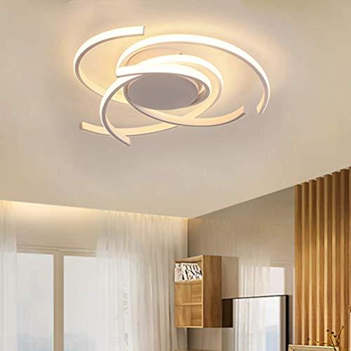 Lámpara LED para dormitorio Diseño moderno y elegante Lámpara de techo empotrada Panel acrílico regulable Lámpara colgante minimalista única para sala de estar con control (Blanco)
