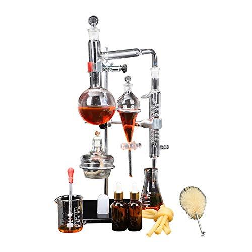 ZZA 500ML Distillatore Distillatore d'Acqua Distillatore di Oli Essenziali Kit Apparecchi Laboratorio distillazione Chimica con Pallone e riscaldatore Tubi del condensatore Purificatore