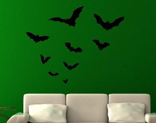 Wandtattoo Set Fledermaus Fledermäuse Schwarm Halloween Aufkleber Wand 5O001, Farbe:Schwarz Matt