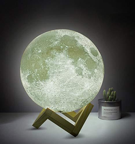 SEESEE.U 8Cm Luz de Luna Llena 3D LED Noche Lámpara de pie Moderna Toque Regulable Carga USB Luz Blanca cálida Lámpara de Luna Lunar con Soporte