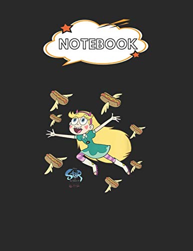 """Notebook: Disney Channel Star Vs The Forces Of Evil Hot Dog Blank Comic Notebook for Kids Marble Size Blank Journal Composition Blank Pages Rule ... of 8.5""""x11"""" for Drawing Sketching Doodling"""