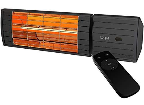 Verwarmingsstraler 2000 Watt met afstandsbediening | IP55 | Terrasverwarmer | Infarotstraler | Terras | Veranda Series halogeen Low Glare IV2000.LR zwart