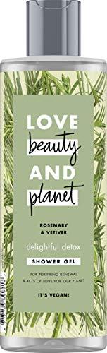 Love Beauty And Planet Delightful Detox douchegel, voor uitgebalanceerde huid Rosemary & Vetiver zonder parabenen, 1 stuk (400 ml)