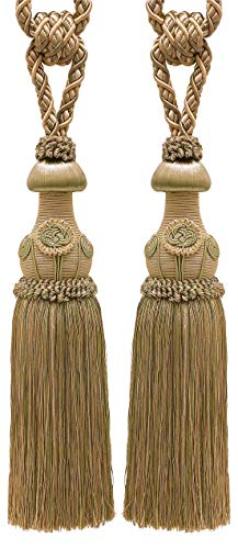 Pair of Decorative Beige, Olive Green, Champagne Curtain & Drapery Tassel Tieback /30cm tassel, 81cm Spread (embrace), 11mm Cord, Baroque Collection Style# TBBL-1 Color: WINTER MEADOW 6939