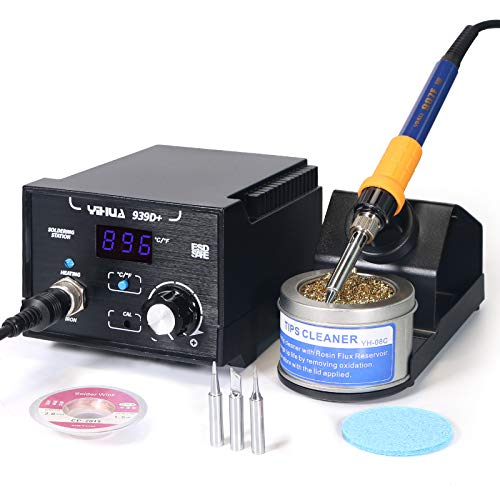 Yihua 939D+ Professional 75 Watt Equivalent Digital Soldering Iron Station ESD SAFE °F /°C Switch with Extras - 3 Solder Tips, Lead-Free Solder Wire and Goot Wick