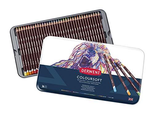 Derwent Colorsoft Pencils, 4mm Core, Metal Tin, 36 Count (0701028)