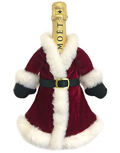 Brillabenny Copri Bottiglia Natalizio Vestito ADDOBBO Babbo Natale con Pelliccia x Bottiglie Champagne e Vino Decoro...