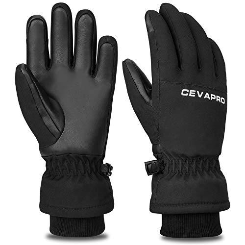 Cevapro Ski Gloves, Waterproof Snowboard Gloves Winter Warm Gloves Insulated Thermal Gloves for Skiing Skating Snowboarding Shoveling Under -30℉ (Kids Black, Kids M(7-9 Years Old))