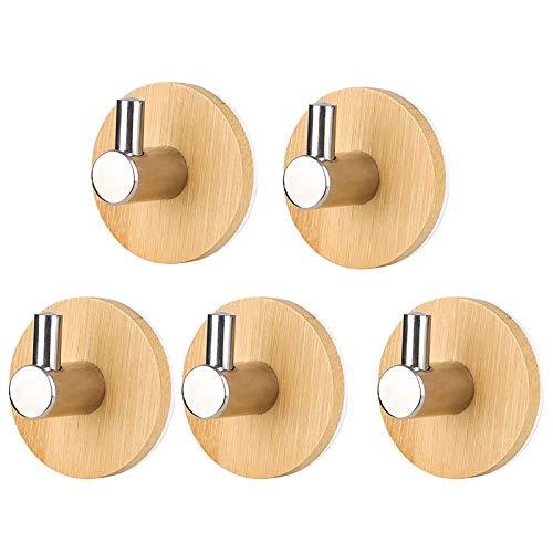 XINDA 6 Mehrzweck-Haken für Bademantel und Badetuch, selbstklebende Haken aus Edelstahl + Bambus, Haken für Schlüssel, Mantel, Handtuch, Regenschirm