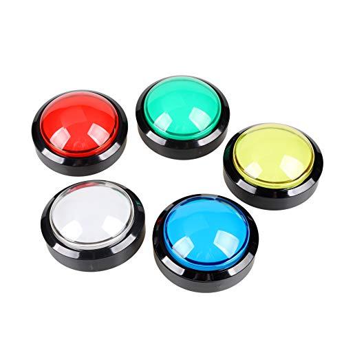 5x 60mm Botones con forma de cúpula iluminados con LED para juegos operados por máquina Arcade Coin (cada color de 1 pieza)