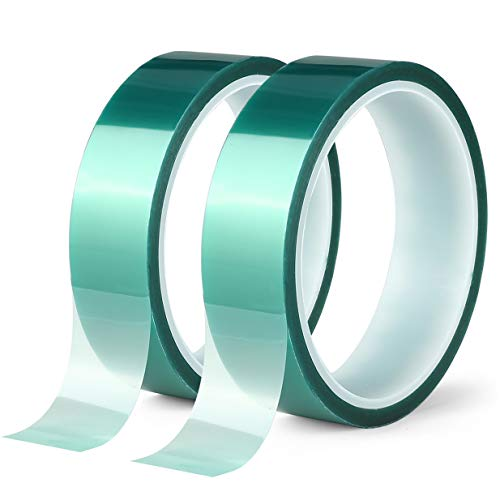 2 Roll Polyester High Temperature Masking Tape, PET Tape with Silicone Adhesive, Ideal for Painting, Powder Coating, Anodizing, Circuit Boards,3D Printer (1 inches*82 feet)