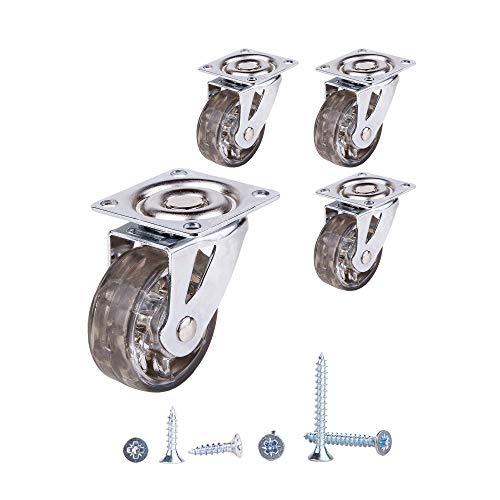Juego de 4 ruedas giratorias de 50 mm con movimiento suave de goma transparente con ruedas de freno con placas de montaje, ruedas de goma, tornillos incluidos (4, sin frenos)