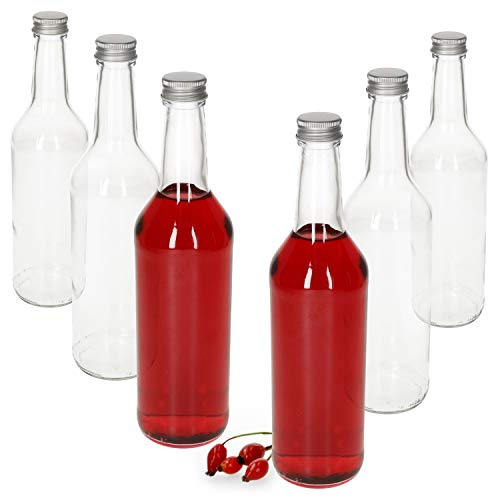 MamboCat Glasflaschen 500ml Schraubverschluss Silber I 6 Stück leere Flaschen zum Befüllen - Likörflaschen Schnapsflaschen I hochwertiger geschäumter Deckel - luftdicht I Glasflasche 6 Stück